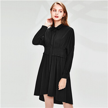 Smocking turn-down collar shirt dress