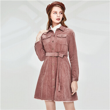 Corduroy waistbanded coat dress
