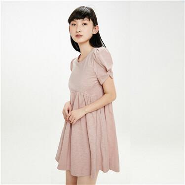 纯棉圆领褶皱短袖娃娃装连衣裙