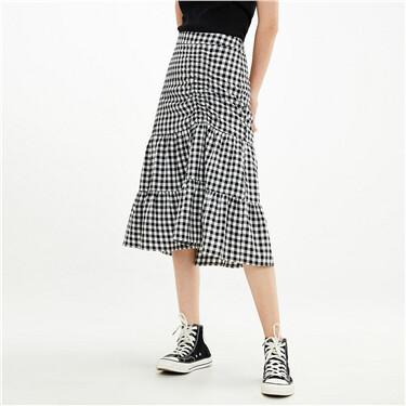 格子抽绳褶皱不对称半身裙