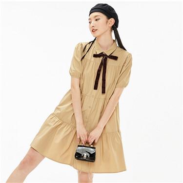 纯棉荷叶边泡泡短袖衬衫连衣裙