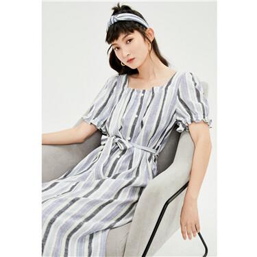 Ribbon waistband puff sleeves stripe dress