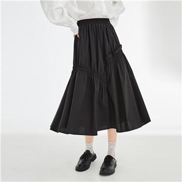 Asymmetrical pleated elastic waistband skirt