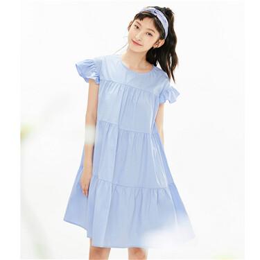纯棉荷叶边圆领蛋糕裙连衣裙