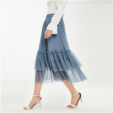 压褶网纱荷叶边松紧腰半身裙