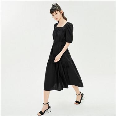 纯棉配腰带方领泡泡袖连衣裙