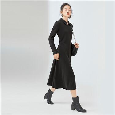 Turn-down collar half placket dress
