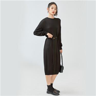 Dropped-shoulder crewneck dress