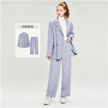Closure collar jacket and wide-leg pants suit