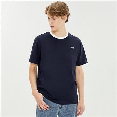 字母刺绣纯棉圆领短袖T恤