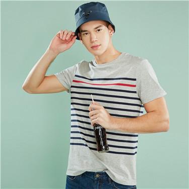 纯棉拼色条纹圆领短袖T恤
