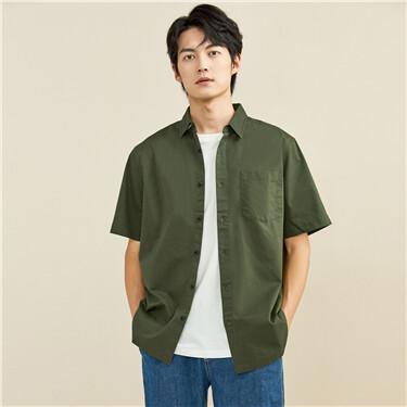 纯棉工装贴袋短袖休闲衬衫