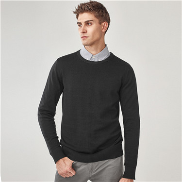 Combed cotton V neck pullover sweater