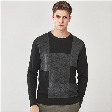 Combed cotton patchwork sweater