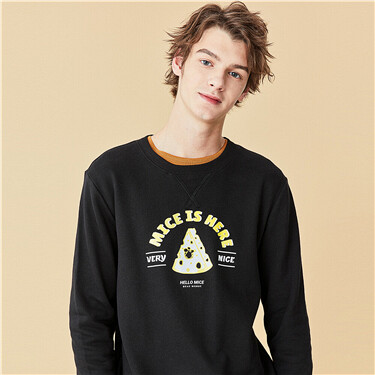 Printed long sleeves o-neck pullover