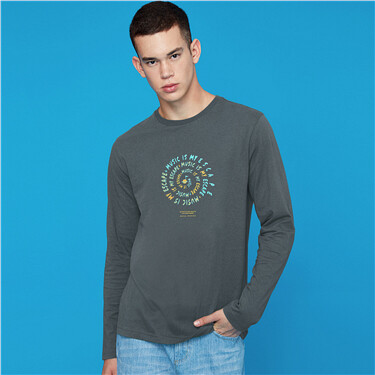 Printed cotton crewneck long sleeves tee