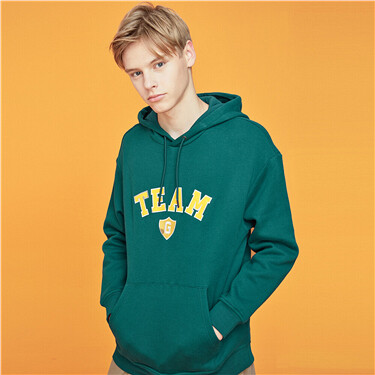 Fleece-lined printed hoodie