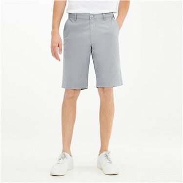 纯色轻薄弹力棉中腰休闲短裤