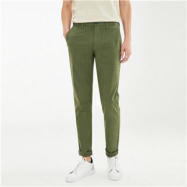 弹力棉工装贴袋薄款休闲长裤