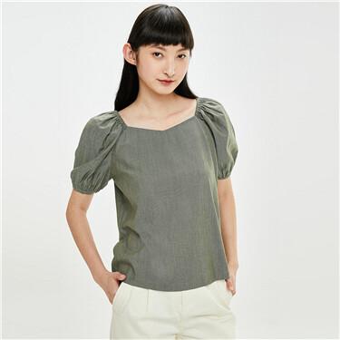 Plain square-neck puff sleeves shirt