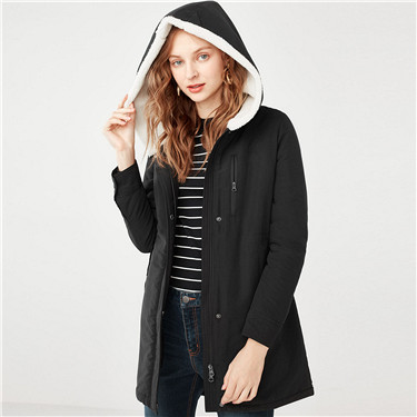 Thick hooded fleeced long jacket
