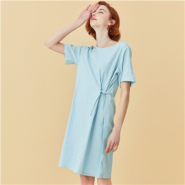 Crewneck shirring two-wear dress