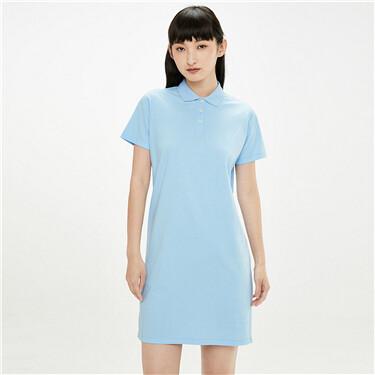 纯棉纯色短袖POLO连衣裙