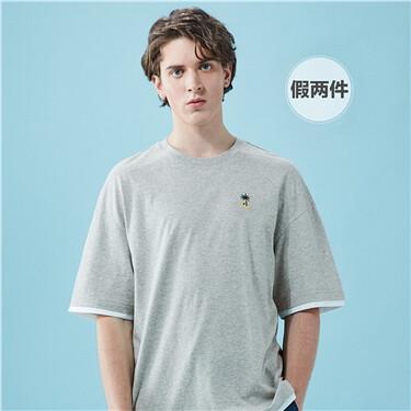 刺绣小章假两件宽松短袖T恤