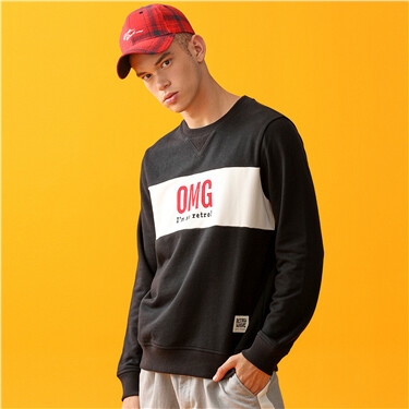 Embroidery crewneck long-sleeve sweatshirt