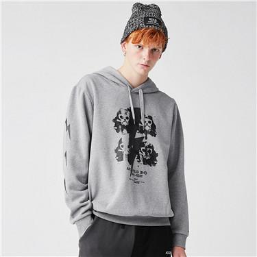 VON Printed pattern fleece hoodie