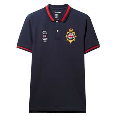 Pique embroidered stretchy slim polo