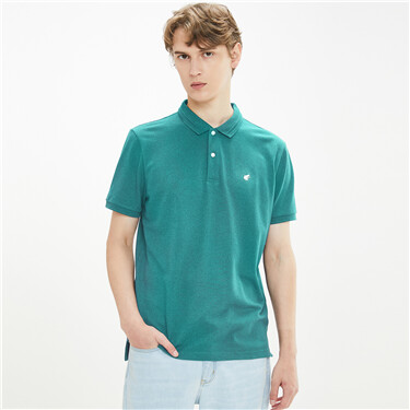 Frog embroidery stretchy polo shirt