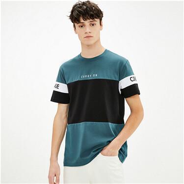 纯棉撞色字母印花圆领短袖T恤