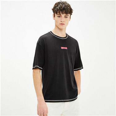 纯棉刺绣撞色明线圆领短袖T恤