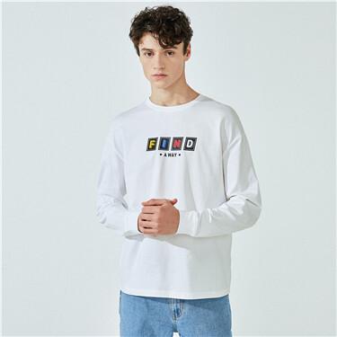 纯棉字母落肩宽松圆领长袖T恤
