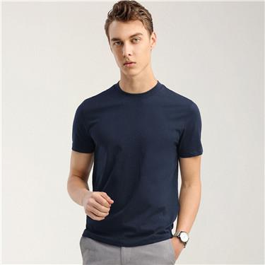 纯色修身圆领短袖T恤