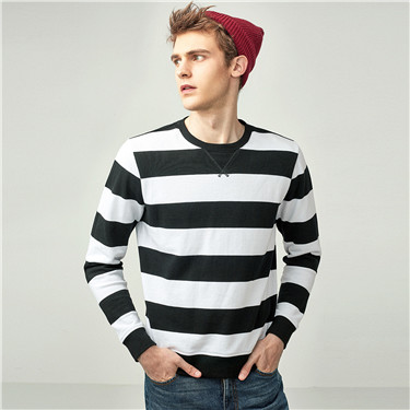 Striped crewneck pullover sweatshirt