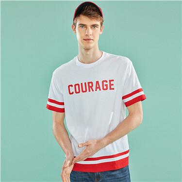 复古拼色字母印花圆领短袖T恤