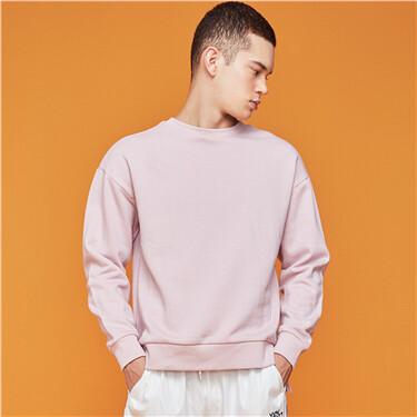 Contrast stripe ribbed crewneck sweatshirt