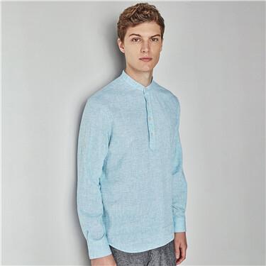 Linen mandarin collar shirt