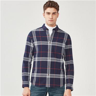 厚实纯棉长袖休闲衬衫