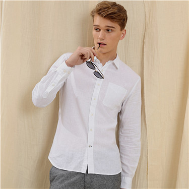 Linen-cotton half placket shirt