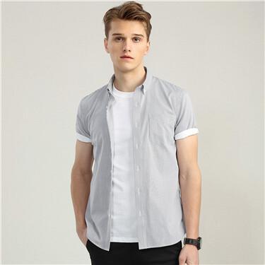 免烫抗菌纯棉牛津纺短袖衬衫