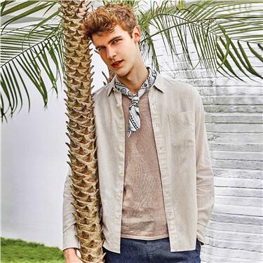 天然麻棉单标袋长袖衬衫