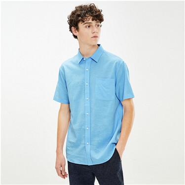 Single Pocket Short Sleeve Slim Shirt