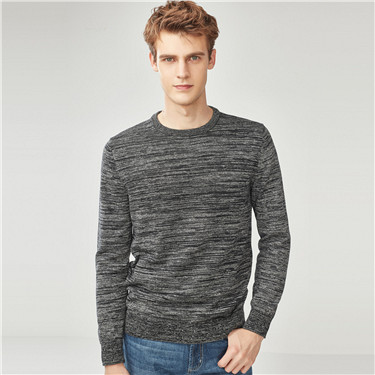 Solid long-sleeve pullover sweater