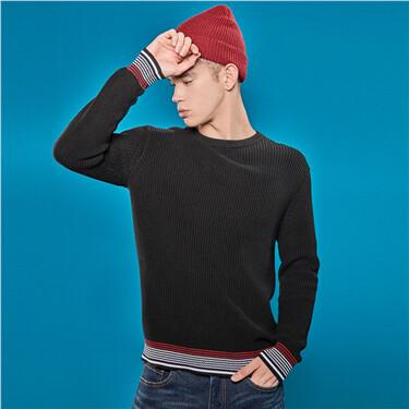Mockneck half placket contrast knitted sweater