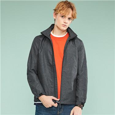 Detachable hooded slim fit windbreaker
