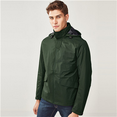 Detachable hooded slim fit windbreaker