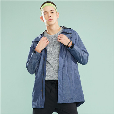 Banded-waist hooded mid-long windbreaker
